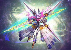 Rating: Safe Score: 33 Tags: fate/grand_order fate_(series) heroine_xx_(foreigner) mecha nkmr8 saber scarf spear weapon wings User: otaku_emmy