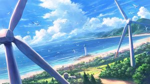 Rating: Safe Score: 50 Tags: beach building clouds landscape lighthouse original scenic shiki_makoto sky water windmill User: RyuZU