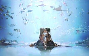 Rating: Safe Score: 107 Tags: 2girls animal anmi barefoot blue_eyes brown_hair cropped dress fish gray_hair long_hair original ponytail reflection scan shoujo_ai underwater water User: BattlequeenYume