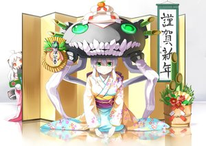Rating: Safe Score: 137 Tags: 2girls aliasing anthropomorphism emerane fang gray_hair green_eyes hat horns japanese_clothes kantai_collection kimono loli northern_ocean_hime translation_request wo-class_aircraft_carrier User: Flandre93