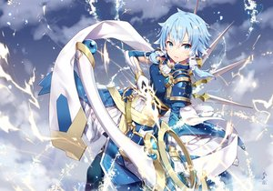 Rating: Safe Score: 84 Tags: blue_hair bow_(weapon) clouds gabiran gloves green_eyes shinon_(sao) short_hair sky sword_art_online weapon User: BattlequeenYume