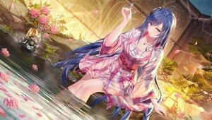 Rating: Safe Score: 82 Tags: blue_eyes blue_hair candy flowers junpaku_karen lollipop long_hair necklace original robot water User: BattlequeenYume