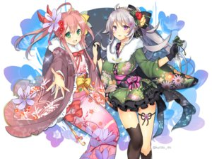 Rating: Safe Score: 27 Tags: 2girls bow flower_knight_girl flowers gloves gray_hair green_eyes japanese_clothes kimono kurot long_hair pink_hair ponytail purple_eyes ribbons tagme_(character) thighhighs twintails watermark User: BattlequeenYume