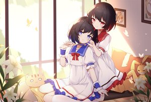 Rating: Safe Score: 107 Tags: 2girls black_hair blue_eyes dress flowers honkai_impact kneehighs poinia red_eyes seele_vollerei veliona User: BattlequeenYume
