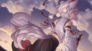 Rating: Safe Score: 107 Tags: animal_ears clouds inubashiri_momiji iwbitu japanese_clothes short_hair sky sunset tail touhou watermark white_hair wolfgirl User: Fepple