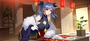Rating: Safe Score: 52 Tags: blue_hair breasts chinese_clothes chinese_dress cleavage daye_bie_qia_lian dress gloves long_hair romantic_saga_of_beauty_&_devil twintails wristwear yellow_eyes User: otaku_emmy