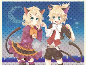 Rating: Safe Score: 16 Tags: animal_ears blush bow catboy catgirl dress fang kagamine_len kagamine_rin short_hair shorts tail thighhighs vocaloid User: HawthorneKitty