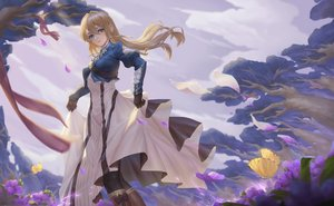 Rating: Safe Score: 45 Tags: blonde_hair blue_eyes boots bow butterfly clouds dress flowers gloves long_hair o_ni_sama ribbons skirt_lift sky tree violet_evergarden violet_evergarden_(character) User: RyuZU