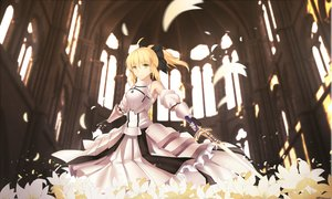 Rating: Safe Score: 117 Tags: armor blonde_hair bow fate_(series) fate/unlimited_codes flowers petals ponytail saber_lily sword weapon yeluno_meng User: Flandre93