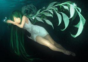 Rating: Safe Score: 103 Tags: dress green_hair long_hair saya saya_no_uta sleeping stealth_tes summer_dress User: opai