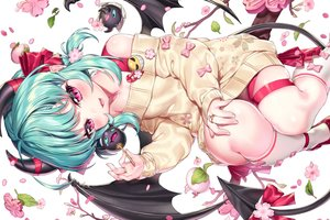 Rating: Safe Score: 72 Tags: aqua_hair bow candy cherry_blossoms demon dress fang flowers horns ia_(ias1010) kiera_(soccer_spirits) kneehighs leaves loli lollipop petals pink_eyes pointed_ears ribbons short_hair soccer_spirits succubus tail white wings User: BattlequeenYume