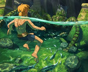 Rating: Safe Score: 24 Tags: all_male animal barefoot blonde_hair cropped fish forest grass link_(zelda) male malin_falch pointed_ears ponytail robot ruins short_hair shorts the_legend_of_zelda topless tree underwater water User: otaku_emmy