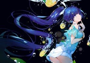 Rating: Safe Score: 105 Tags: aqua_eyes ass blue_hair bubbles dark dress food fruit honkai_impact leaves long_hair ponytail raiden_mei underwater water yamano_(yamanoh) User: BattlequeenYume