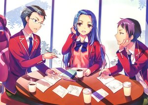 Rating: Safe Score: 16 Tags: aqua_eyes black_hair blue_hair bow drink glasses hasebe_haruka long_hair male miyake_akito paper purple_hair scan seifuku short_hair tie tomose_shunsaku youkoso_jitsuryoku_shijou_shugi_no_kyoushitsu_e yukimura_teruhiko User: RyuZU