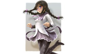 Rating: Safe Score: 11 Tags: akemi_homura black_hair braids glasses long_hair mahou_shoujo_madoka_magica pantyhose purple_eyes ribbons seifuku siraha User: Charly