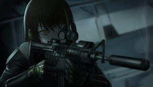 Rating: Safe Score: 90 Tags: anthropomorphism brown_eyes brown_hair close dark girls_frontline gloves gun m4a1_(girls_frontline) tararelux weapon User: otaku_emmy