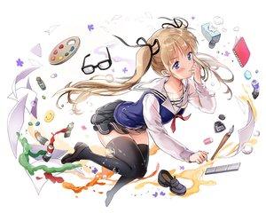 Rating: Safe Score: 90 Tags: blonde_hair long_hair saenai_heroine_no_sodatekata sawamura_spencer_eriri saya_(mychristian2) school_uniform skirt thighhighs white User: mattiasc02