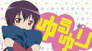 Rating: Safe Score: 37 Tags: blush brown_eyes funami_yui hug logo purple_hair school_uniform short_hair yuru_yuri User: meccrain