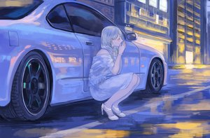 Rating: Safe Score: 57 Tags: blonde_hair building car city dress long_hair momo_hiki original wristwear User: mattiasc02