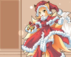 Rating: Questionable Score: 27 Tags: animal_ears christmas foxgirl kazami_karasu santa_hat touhou yakumo_ran User: w7382001