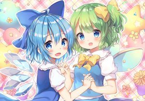 Rating: Safe Score: 54 Tags: aqua_eyes aqua_hair blush bow cirno daiyousei dress fairy fang flowers green_hair honoka_chiffon loli petals ponytail short_hair touhou wings User: RyuZU