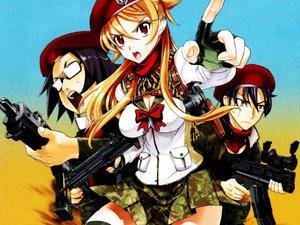 Rating: Safe Score: 51 Tags: gun hat highschool_of_the_dead hirano_kohta komuro_takashi miyamoto_rei skirt weapon User: Oyashiro-sama