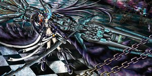 Rating: Safe Score: 26 Tags: black_hair black_rock_shooter blue_eyes chain e.k. gun kuroi_mato shorts sword tagme twintails weapon User: gnarf1975