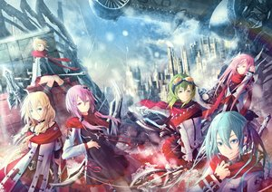 Rating: Safe Score: 93 Tags: ajigo bow_(weapon) building choker city goggles group gumi hatsune_miku ia kagamine_rin megurine_luka ruins scarf spear sword vocaloid voiceroid weapon yuzuki_yukari User: FormX