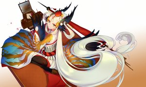 Rating: Safe Score: 65 Tags: blonde_hair green_eyes long_hair onmyouji pantyhose paper petals ubume_(onmyouji) wings wukloo User: RyuZU