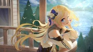 Rating: Safe Score: 85 Tags: aliasing blonde_hair blue_eyes blush long_hair original saraki signed tree water User: BattlequeenYume