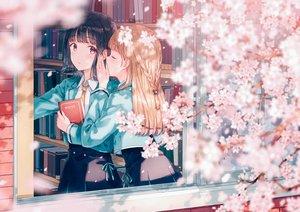 Rating: Safe Score: 188 Tags: 2girls black_hair blonde_hair book braids cherry_blossoms flowers hiten_goane_ryu long_hair original petals pink_eyes school_uniform shoujo_ai skirt tie User: sadodere-chan