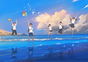 Rating: Safe Score: 5 Tags: animal bird black_eyes black_hair brown_hair clouds group hanasei long_hair male original reflection short_hair skirt sky water User: RyuZU