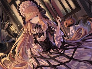 Rating: Safe Score: 87 Tags: arknights blonde_hair blue_eyes building cage dress goth-loli hat headdress horns lolita_fashion long_hair nightingale_(arknights) pumpkin sheya signed staff User: BattlequeenYume