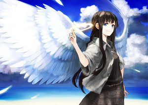 Rating: Safe Score: 189 Tags: angel black_hair blue_eyes chirigami-san clouds dress feathers halo long_hair sky tagme wings User: opai