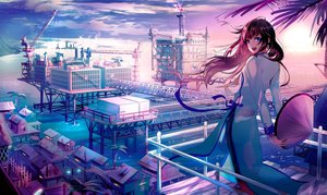 Rating: Safe Score: 80 Tags: blue_eyes brown_hair building clouds dress industrial long_hair night original o-sd! ribbons scenic sky stars tree umbrella water User: BattlequeenYume