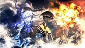 Rating: Safe Score: 71 Tags: collar destroyer_hime gloves gun kantai_collection kouji_(astral_reverie) long_hair purple_eyes water weapon white_hair User: Maboroshi