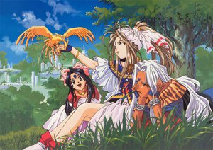 Rating: Safe Score: 22 Tags: aa_megami-sama animal belldandy bird skuld urd User: Oyashiro-sama
