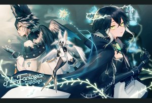 Rating: Safe Score: 26 Tags: asuda black_hair dark_skin elbow_gloves fairy feathers flat_chest glasses gloves green_eyes long_hair original pixiv_fantasia wings User: RyuZU