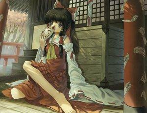 Rating: Safe Score: 91 Tags: hakurei_reimu japanese_clothes kichiroku mask miko ofuda shrine touhou User: FormX