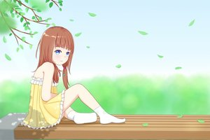 Rating: Safe Score: 7 Tags: abwan blue_eyes brown_hair dress loli long_hair original socks summer summer_dress User: gnarf1975