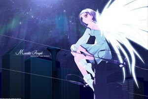 Rating: Safe Score: 14 Tags: aircraft angel black_hair boots city dark dress murakami_suigun night red_eyes stars wings User: Oyashiro-sama