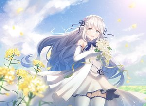 Rating: Safe Score: 32 Tags: aqua_eyes blush bow chihuri405 clouds dress elbow_gloves flowers gloves gray_hair long_hair original petals sky thighhighs User: RyuZU