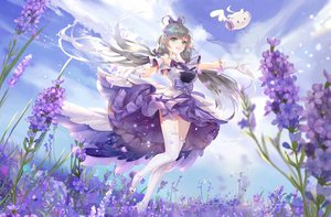 Rating: Safe Score: 60 Tags: bow clouds dress flowers garter_belt gloves gray_hair green_hair lattesong long_hair luo_tianyi sky stockings twintails vocaloid vocaloid_china zettai_ryouiki User: mattiasc02