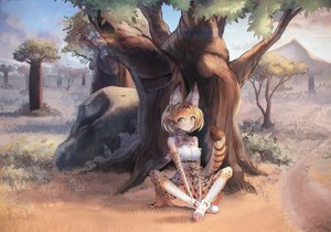 Rating: Safe Score: 42 Tags: animal animal_ears bird blush boots bow clouds dress elbow_gloves gloves jpeg_artifacts kemono_friends moon nasuno_chiyo serval short_hair sky tail thighhighs tree User: mattiasc02