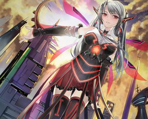 Rating: Safe Score: 186 Tags: city gray_hair okingjo red_eyes skirt thighhighs wings User: SciFi