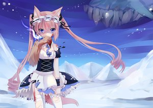 Rating: Safe Score: 330 Tags: animal_ears blood blue_eyes catgirl dress headdress loli long_hair maid mvv original pink_hair pixiv_fantasia tail thighhighs tie torn_clothes twintails User: Maboroshi