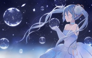 Rating: Safe Score: 121 Tags: blue_hair choker dress flowers hatsune_miku long_hair nagitoki stars twintails vocaloid wedding_attire User: FormX