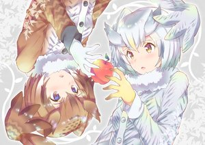 Rating: Safe Score: 29 Tags: 2girls anthropomorphism apple brown_eyes brown_hair eurasian_eagle-owl_(kemono_friends) food fruit gloves kemono_friends northern_white-faced_owl_(kemono_friends) short_hair takano_itsuki white_hair wings User: RyuZU