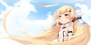 Rating: Safe Score: 46 Tags: anthropomorphism azur_lane blonde_hair breasts clouds eldridge_(azur_lane) loli long_hair pnt_(ddnu4555) red_eyes sideboob sky tattoo twintails User: otaku_emmy