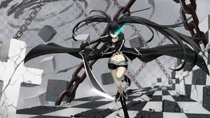 Rating: Safe Score: 118 Tags: bikini_top black_hair black_rock_shooter blue_eyes cross_akiha kuroi_mato long_hair navel sword twintails weapon User: SciFi